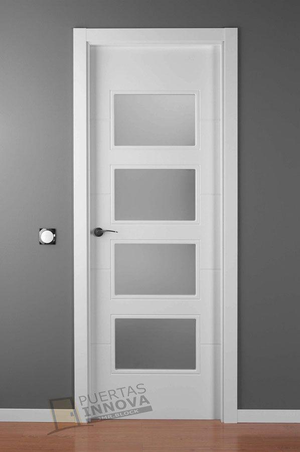 Puerta lacada blanca lac 9004 v4 cristales consultar for Puertas de calle aluminio precios