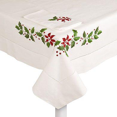 Decoraci n navide a en tu mesa a punt de creu o estarcit - Manteles de navidad ...