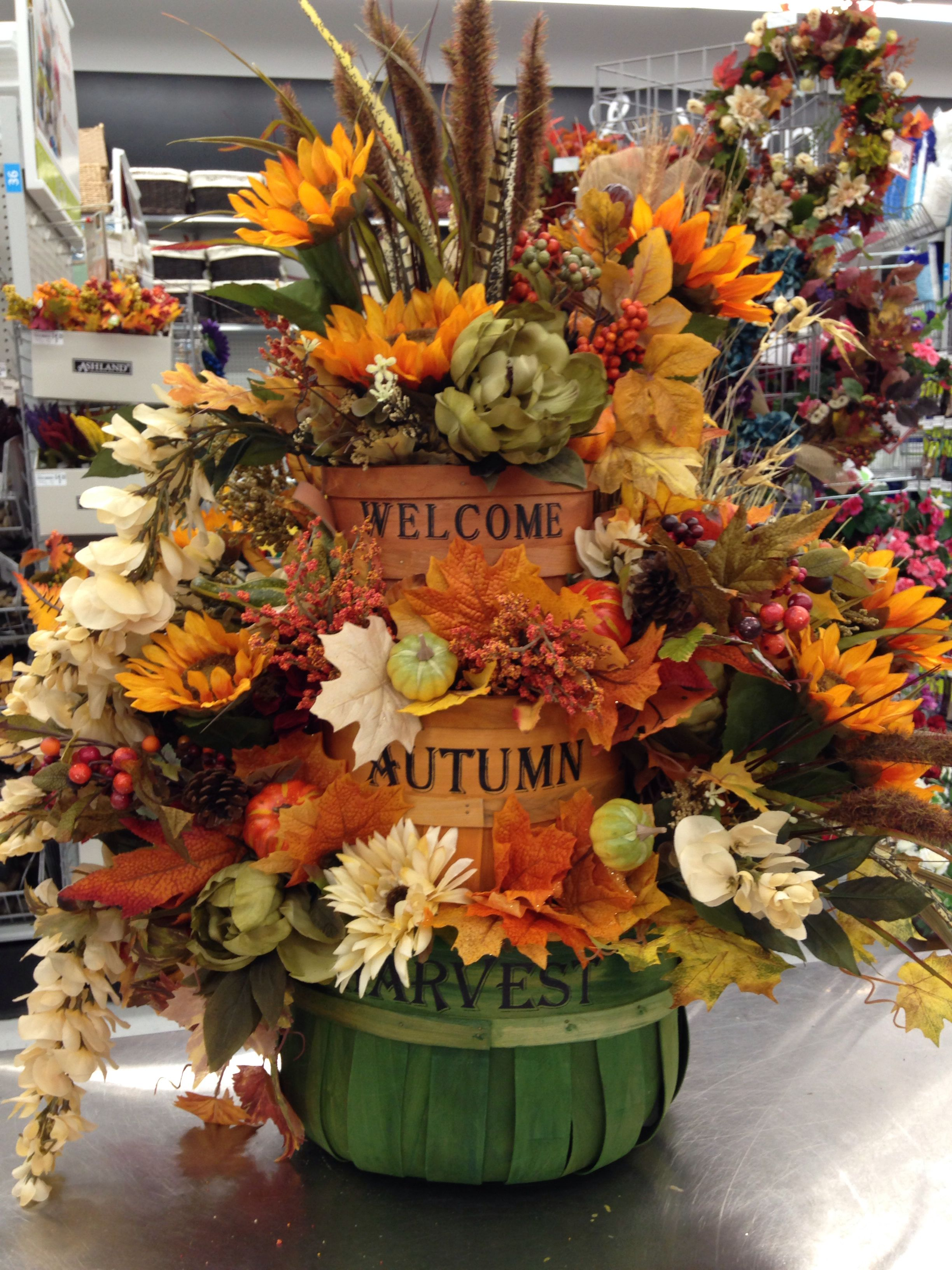 Fall Barrel Arrangement With Sunflowers And Fall Leaves 2014 Fall Flower Arrangements Fall Floral Arrangements Autumn Decorating