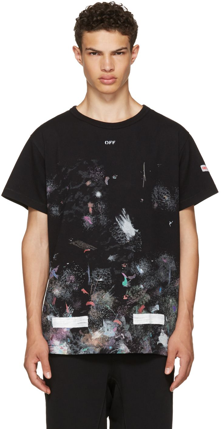 544fe6ad Off-White: Black Galaxy Brushed T-Shirt | SSENSE | Inspiration in ...
