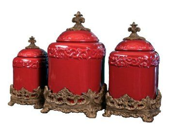 Amazon Com Drake Design 3544 Large Canister 3 Piece Set Red 13 5 12 10 Inch Home Kitchen Red Canisters Red Canister Set Ceramic Canister Set