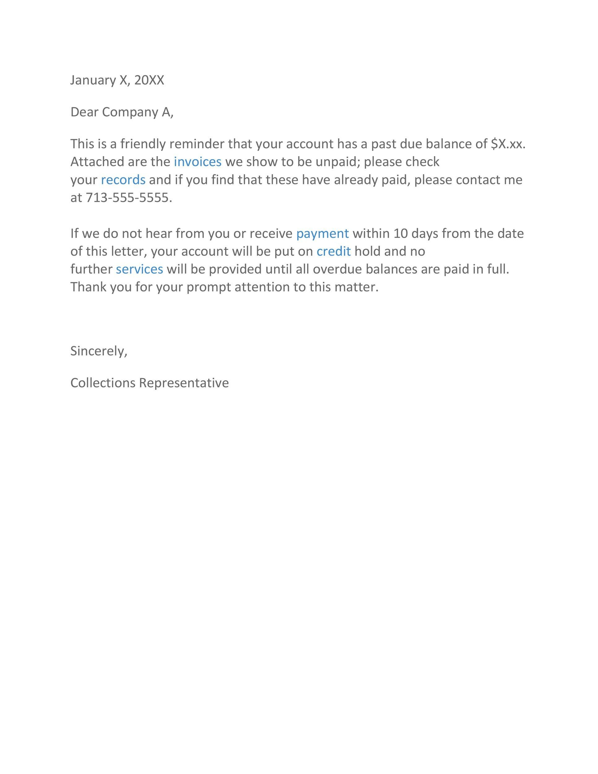 Past Due Invoice Letter   Letter templates free, Collection letter ...