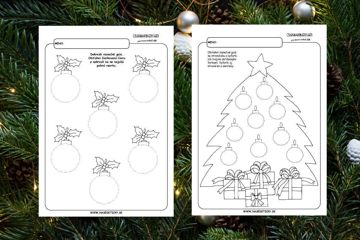 Vianoce - pracovn� listy pre deti na precvi�enie grafomotoriky. Kresl�me viano�n� gule.