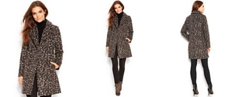 Vince Camuto Leopard-Print Double-Breasted Walker Coat