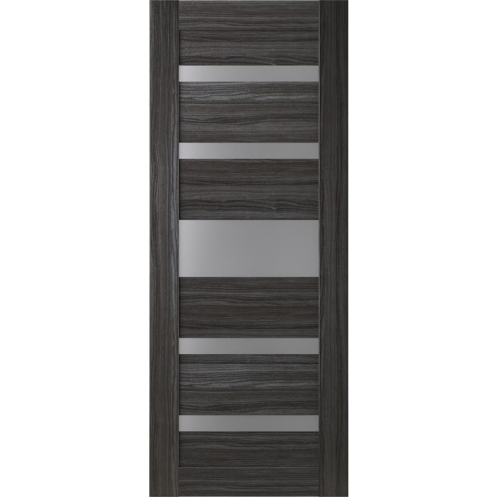 Belldinni 32 In X 80 In Gina Gray Oak Finished Frosted Glass 5 Lite Solid Core Wood Composite Interior Door Slab No Bore 0117840 The Home Depot Doors Interior Grey Oak Oak Interior Doors