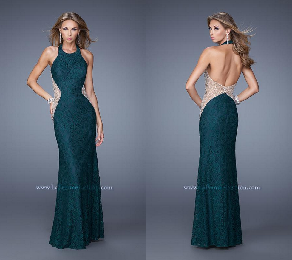 La Femme 20896 ~ dress with side cut outs ~ lace halter ~ stunning ...