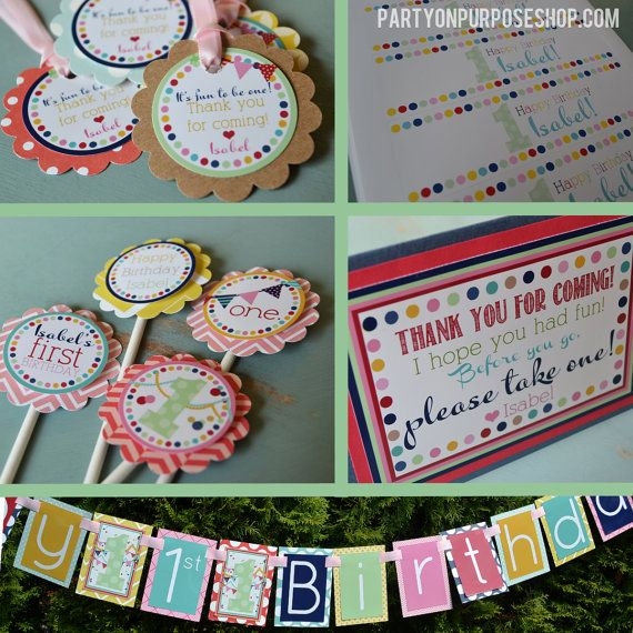 Confetti & Buntings First Birthday Party by PartyOnPurposeShop