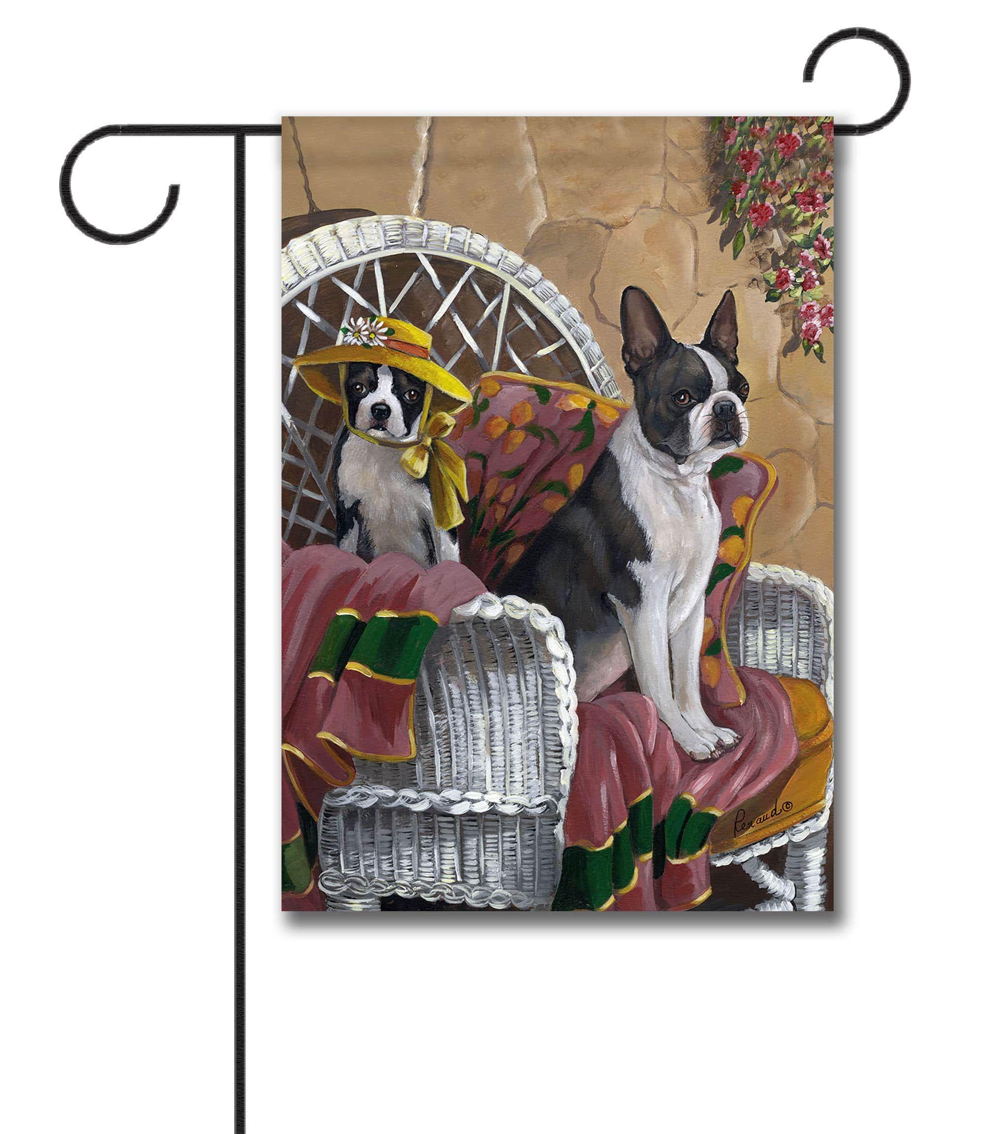 Boston Terrier Patio Gems   Garden Flag   12.5u201d X 18u201d Flag Stand Sold