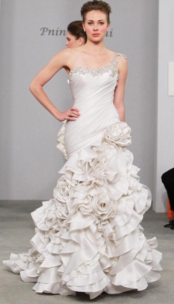 Pnina 3 Flowers As Bottom Layer In Ball Gown Skirt Split Wedding