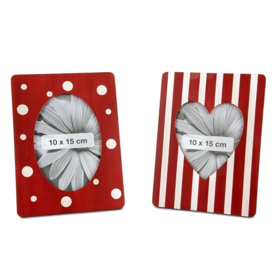 Red & White Wooden Photo Frame with Patterned Design - Spotted or Striped Available