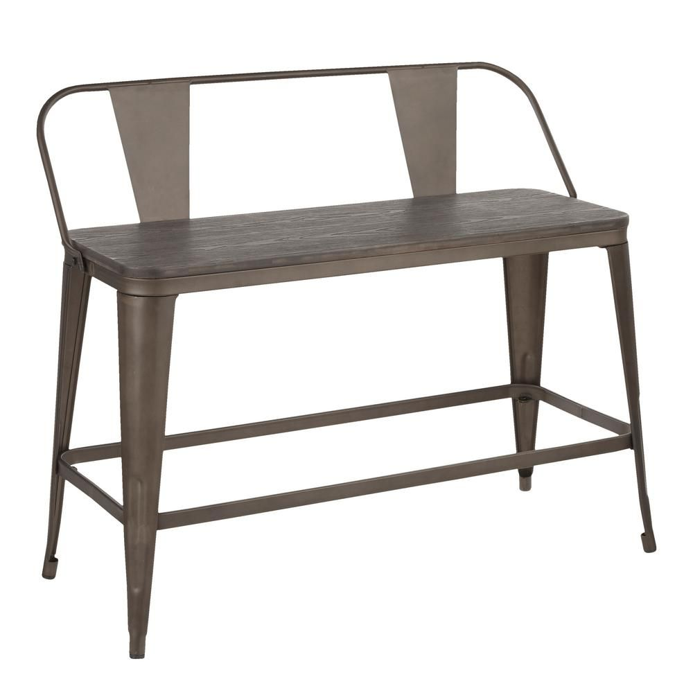 Lumisource Oregon 26 In Counter Height Bench In Antique Metal And Espresso Wood Bc26 Or Ane The Home Depot Counter Height Bench Lumisource Steel Bench