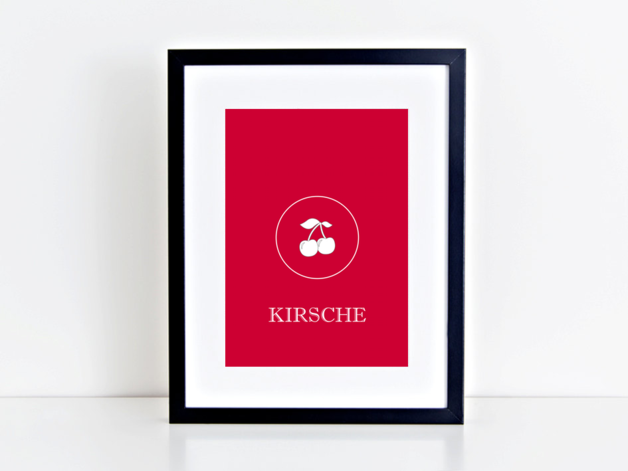 Print A4 KIRSCHE  Hochwertiger Kunstdruck in A4