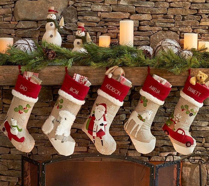 Personalized large Flax monogrammed christmas stockings holidays