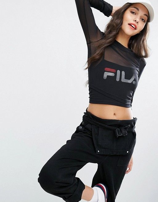 12895e67fdf Fila Double Layer Mesh Crop Top With Logo Print in 2019