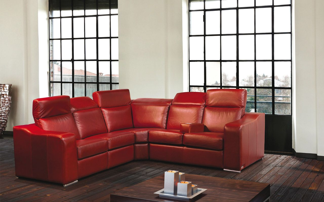 Sectional Vanda Contemporary Style Parallelle 33 Collection Red Leather Sectional With Retractable Hea Sectional Sofa Modular Sectional Sofa Modular Sofa