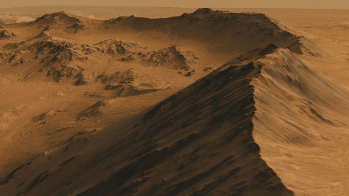 Mountainous rim on Mars