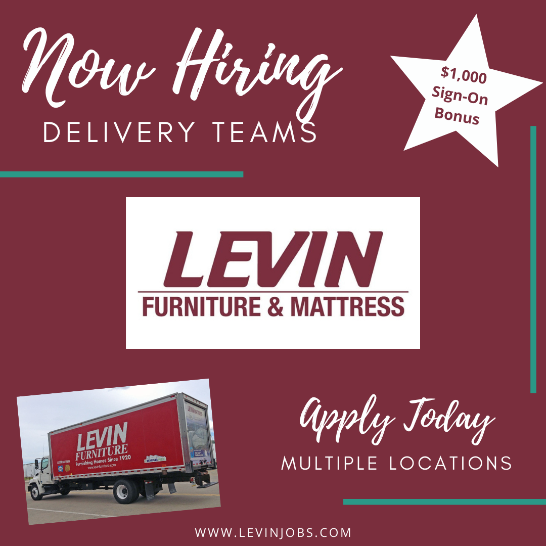 Levin Furniture Mattress Is Hiring Delivery Teams Across Our Pa Oh Locations Delivery Helpers 16 Hr Now Hiring Sign Mattress Furniture Levin Furniture