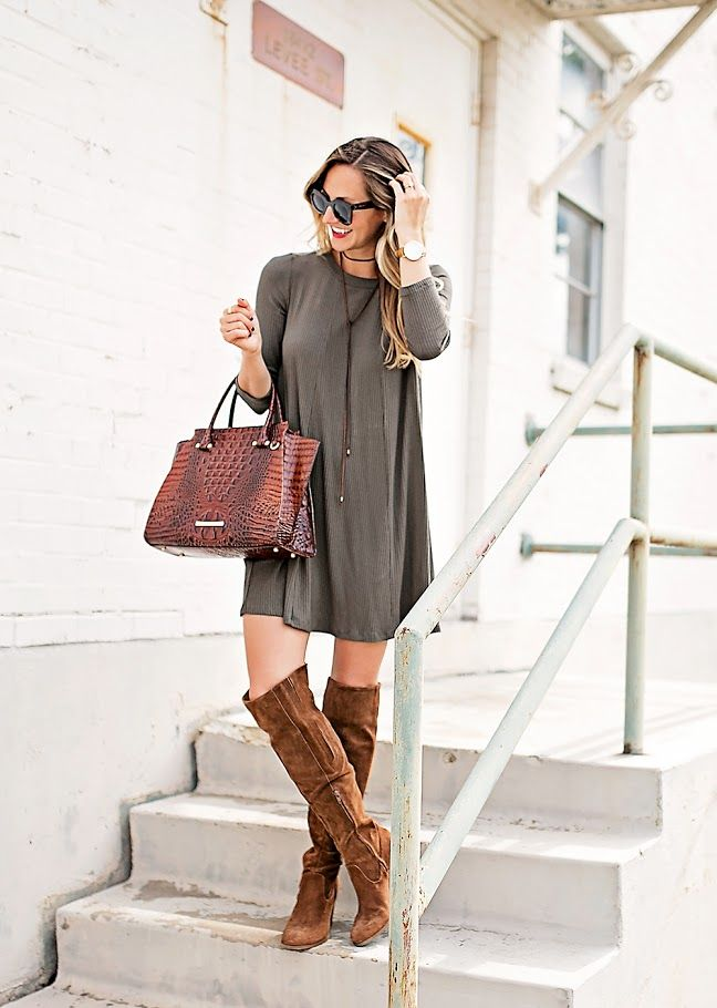 7463b3e4ffec livvyland-blog-olivia-watson-austin-texas-fashion-blogger-fall-outfit-over-the-knee-otk-boots-brahmin-duxbury-handbag-olive-green-shift-dress-celine-marta-  ...