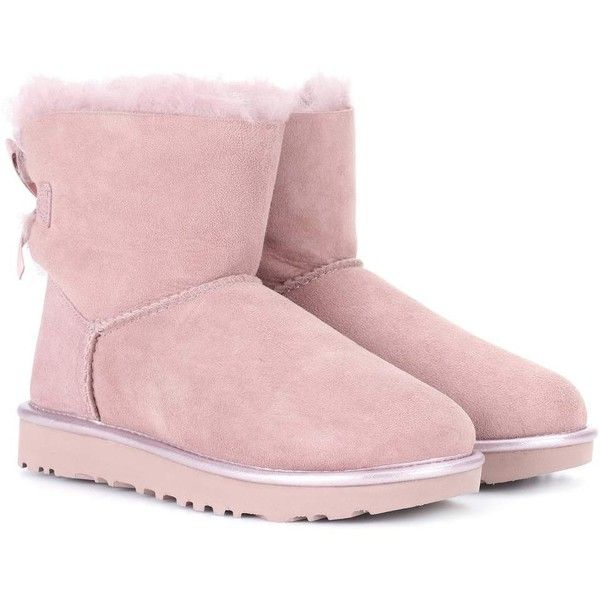 Ugg Australia Mini Bailey Bow II Suede Boots ($230) ❤ liked on Polyvore featuring shoes, boots, pink, ugg, pink bow boots, suede leather boots, ugg…
