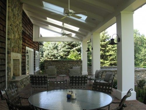 Covered Porch With Skylights Spa And Outdoor Fireplace