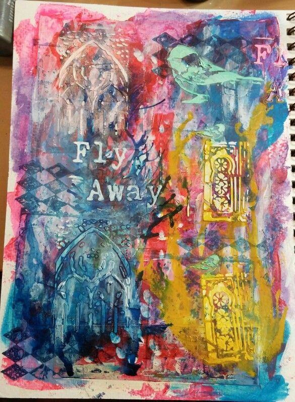 Art Journal page in acrylic paints and inks, Blick modeling paste through stencils.