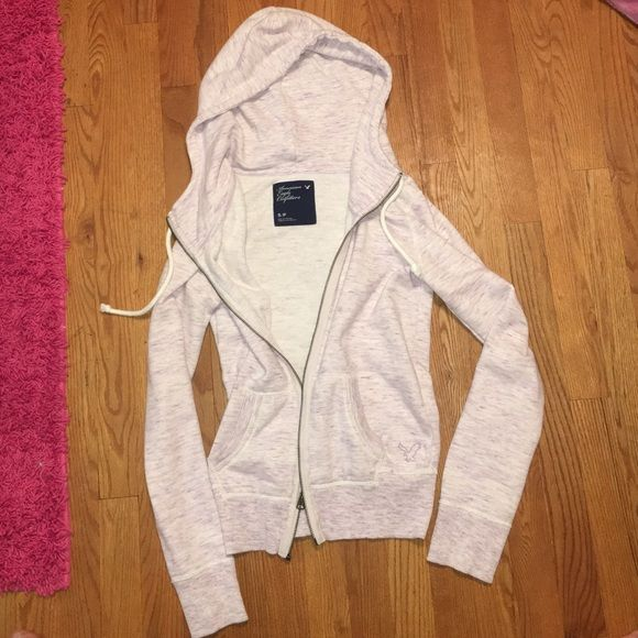 Heather purple American eagle sweatshirt Lightly worn, was one of my favorites, cream and dark purple American Eagle Outfitters Tops Sweatshirts & Hoodies