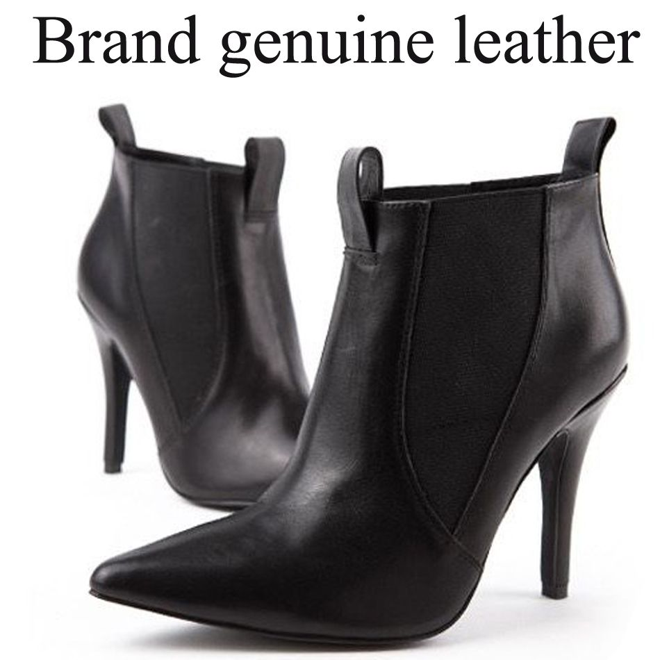 Brand pointed High-heeled ankle boots for women Fashion sexy shoes women genuine leather motorcycle boots $78.00