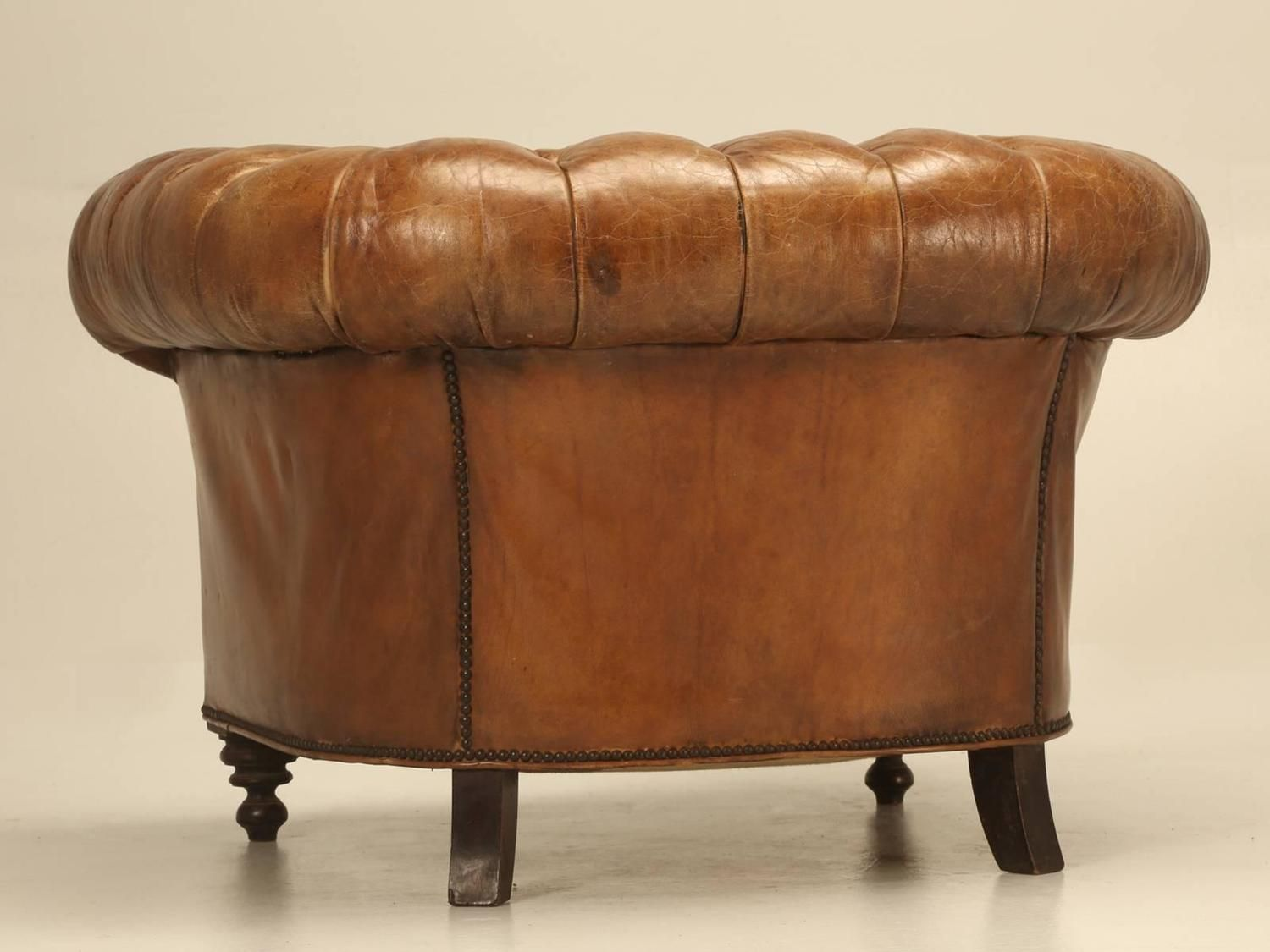 Antique Chesterfield Chair in Original Leather 9
