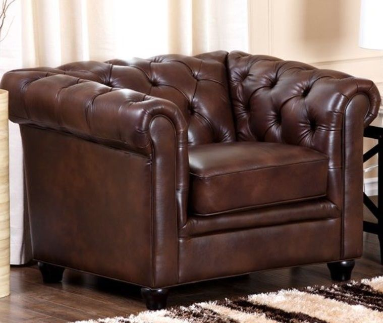Italian Leather Chesterfield Rolled Arm Chair Button