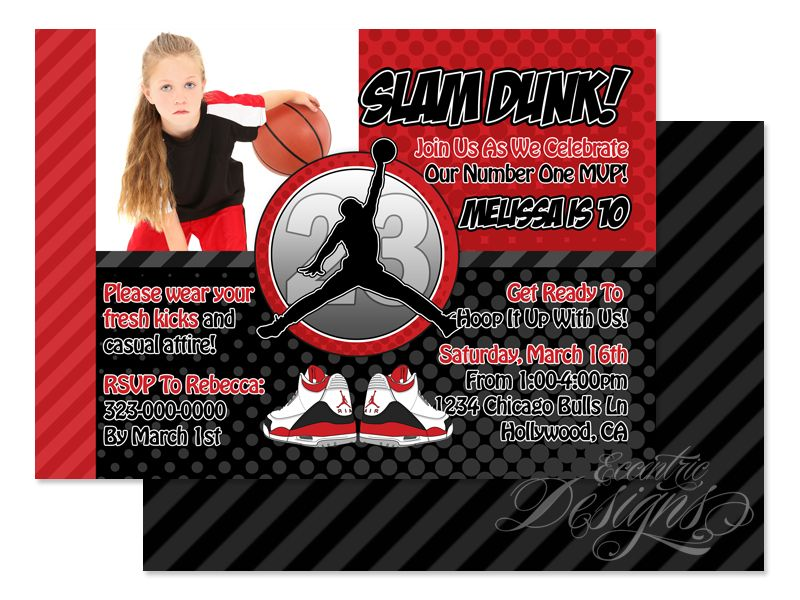 CHICAGO BULLS BIRTHDAY PARTY INVITATION PHOTO 1ST CUSTOM ANY TEAM ...