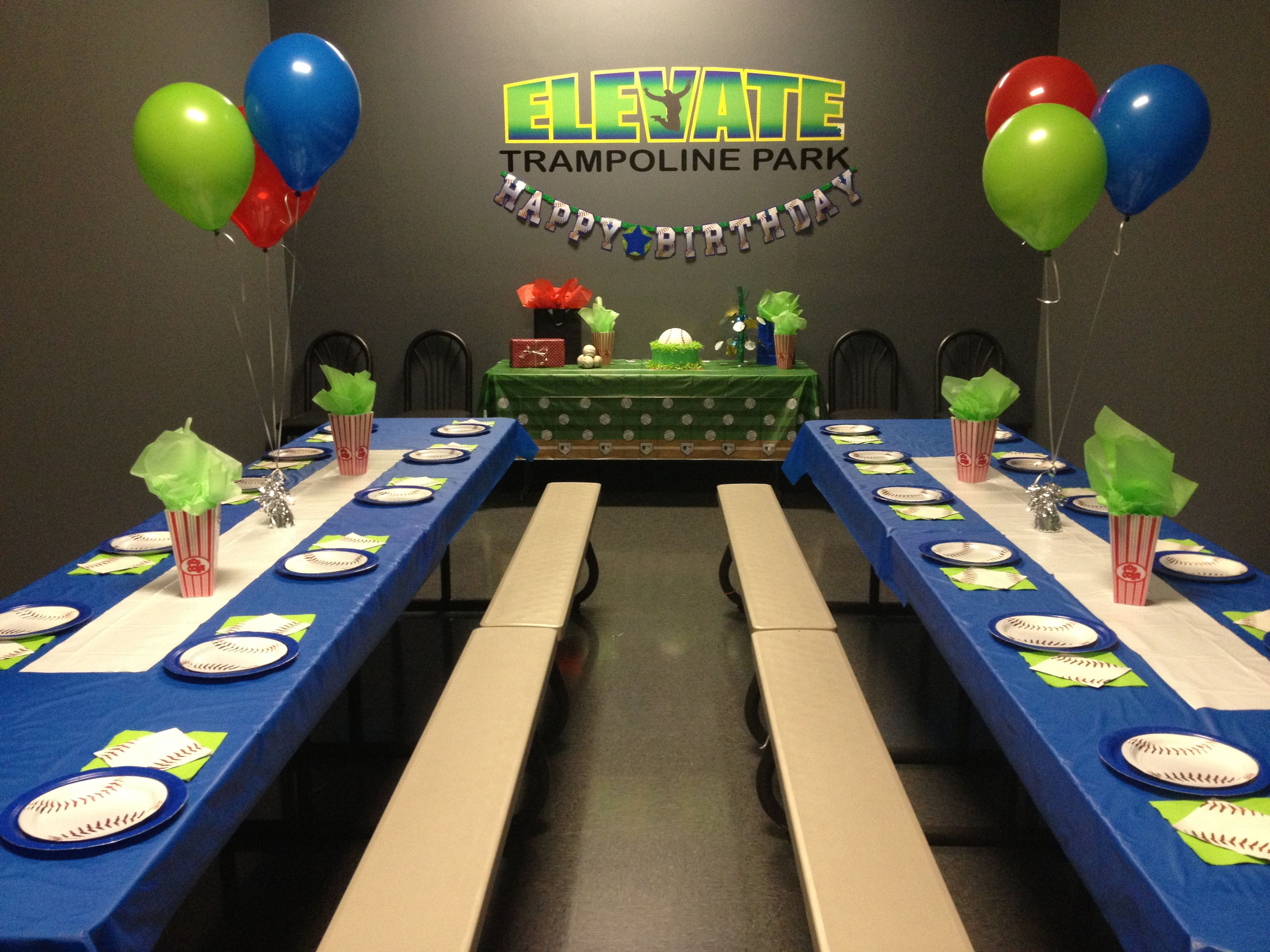 Boys Party Room At Elevate Trampoline Park In Mckinney Texas Trampoline Birthday Party Trampoline Party Birthday Party At Park