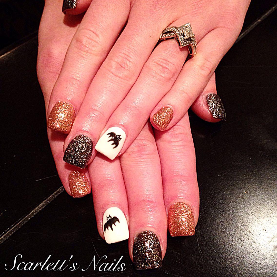 Black diamond and cinnamon light elegance glitter gel Halloween gel ...