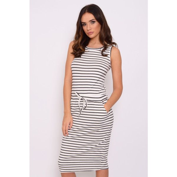 Rare White And Navy Stripe Midi Dress (€24) ❤ liked on Polyvore featuring dresses, calf length dresses, mid calf dresses, midi dress, navy and white striped dress and navy white stripe dress
