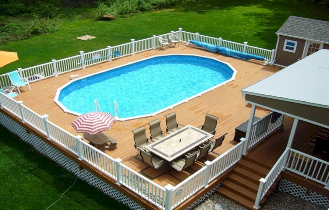 25 Top Oval Above Ground Swimming Pools Design With Decks Pool Deck Plans Swimming Pool Decks Above Ground Pool Landscaping