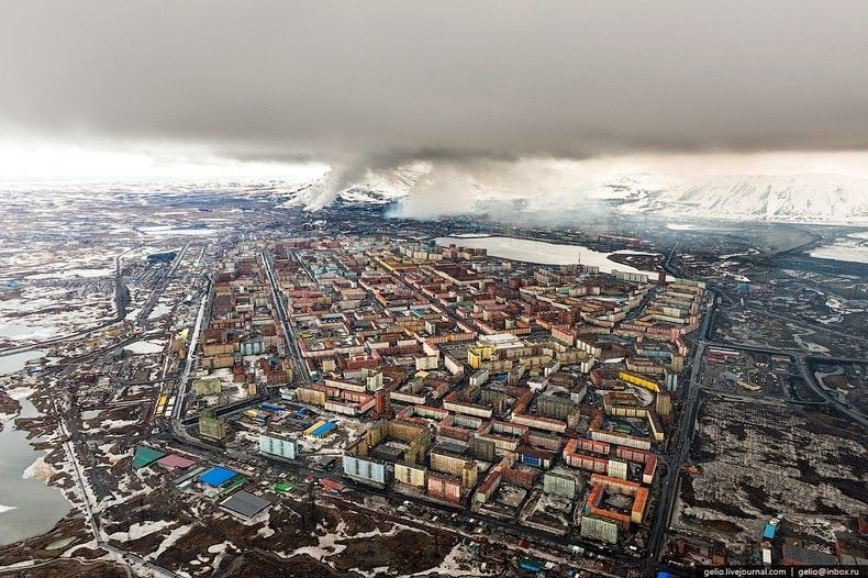 The Depressing Industrial City Of Norilsk Norilsk City City From Above