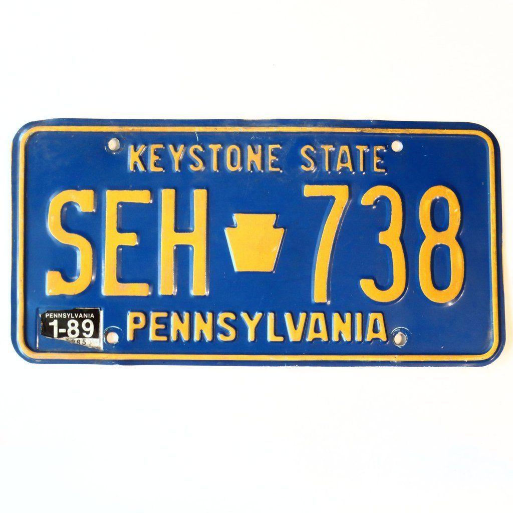 1989 Pennsylvania Keystone State License Plate SEH738