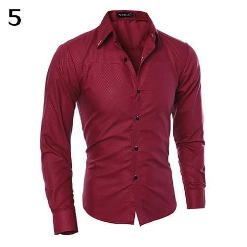 8f7b961cea8 Men Luxury Fashion Casual Formal Shirt Dark Striped Business Slim Fit Long  Sleeve Shirt Top For