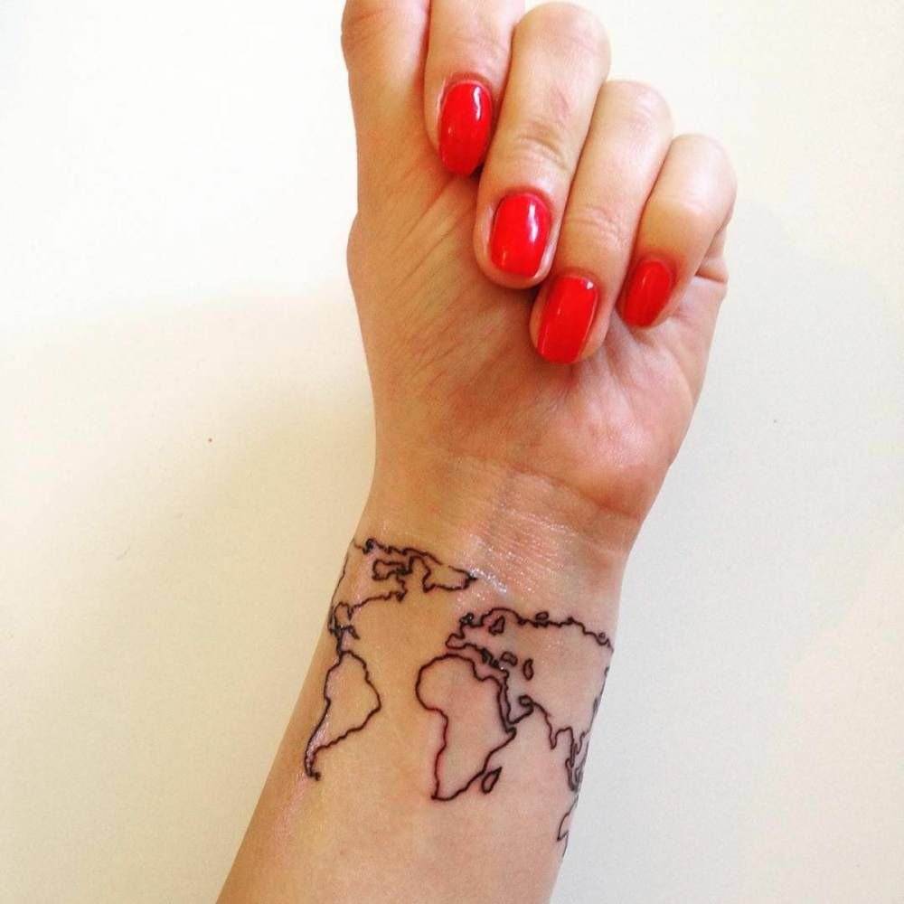 World map tattoo on desis wrist tattoos piercings world map tattoo on desis wrist gumiabroncs Images