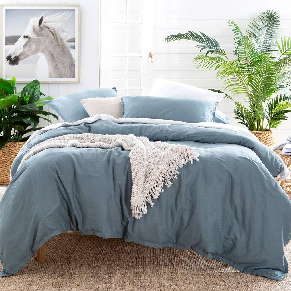 Washed Linen Look Dusty Blue Quilt Cover Set Pillow Talk Blue