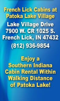 Southern Indiana cabin rental within walking distance of Patoka Lake