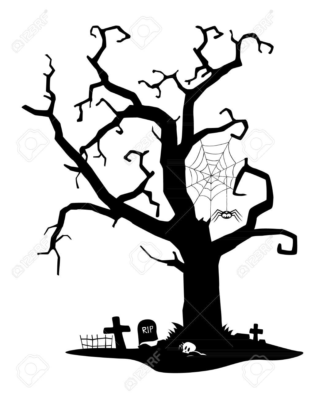 hight resolution of spooky black silhouette of tree near cemetery royalty free