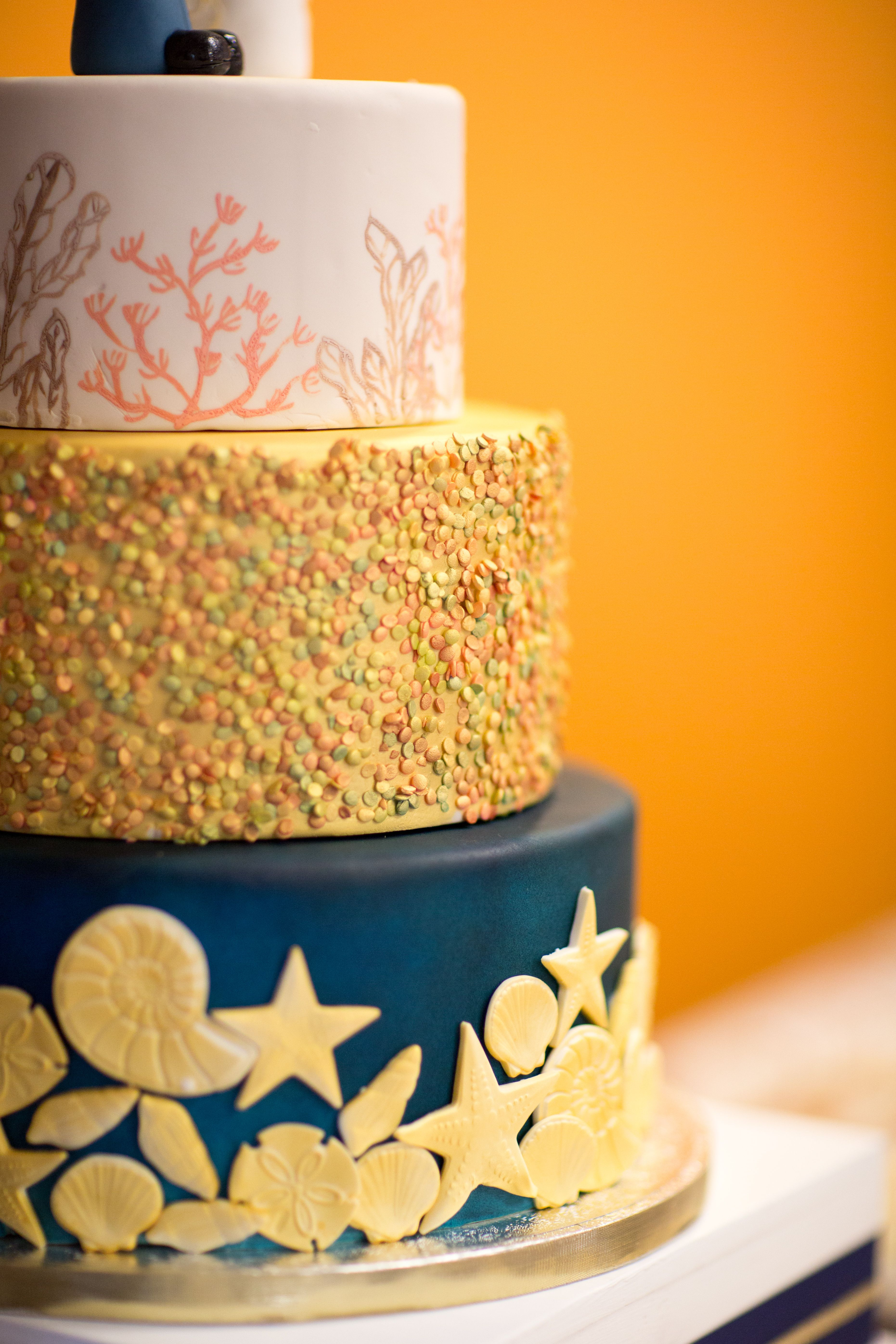 Golden Beach Fondant Wedding Cake Made By Chef Aura Fuenmayor