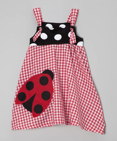 Love this Red Gingham Ladybug Frolic Dress - Girls on #zulily! #zulilyfinds