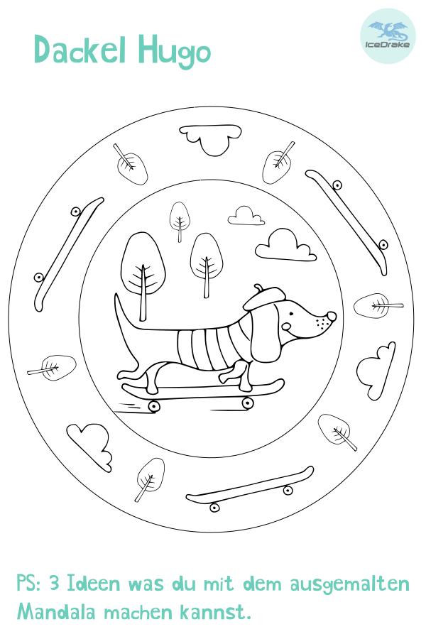 Ausmalbild Hund - Dackel Hugo Ausmalbilder hunde