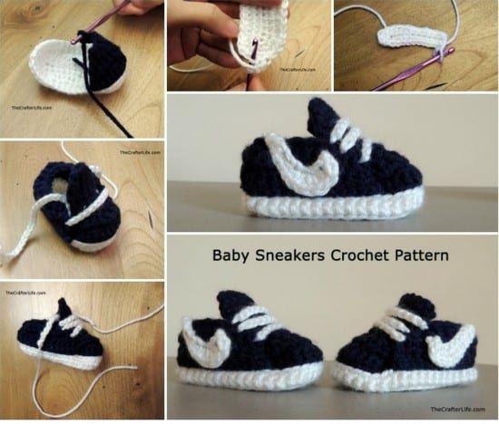 Crochet Converse Baby Booties Pattern Free Video Tutorial Haken