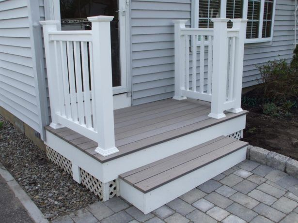 Delightful Exterior Wooden White Home Design Paving Block Front Stoop Terrace Wooden  Terrace Design Ideas Front Stoop