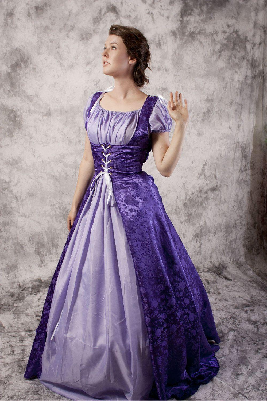 Purple Renaissance Gown- Medieval Dress Chemise Set- Fairytale ...