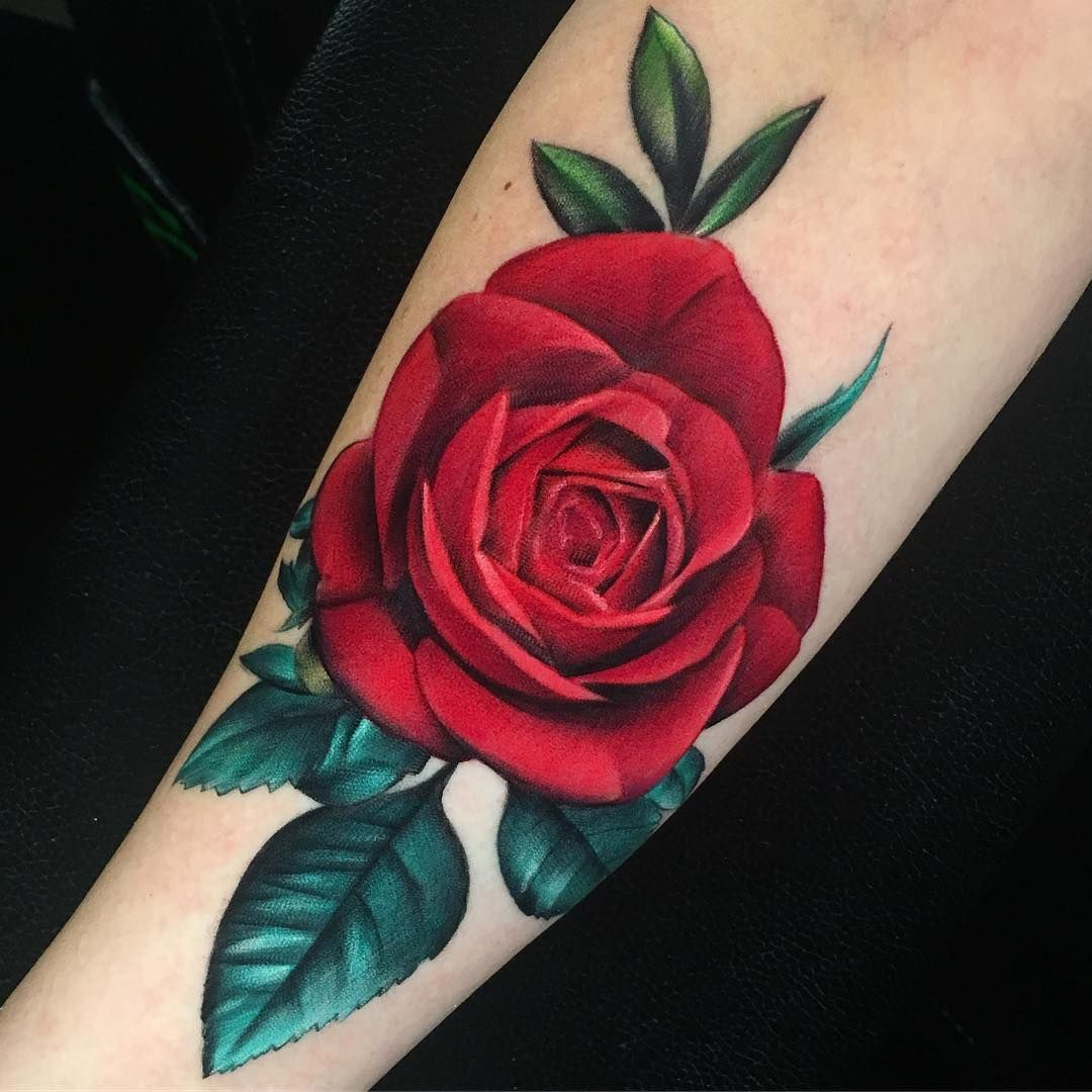 Realistic Red Rose Tattoo Red Rose Tattoo Rose Tattoos For Women Colorful Rose Tattoos