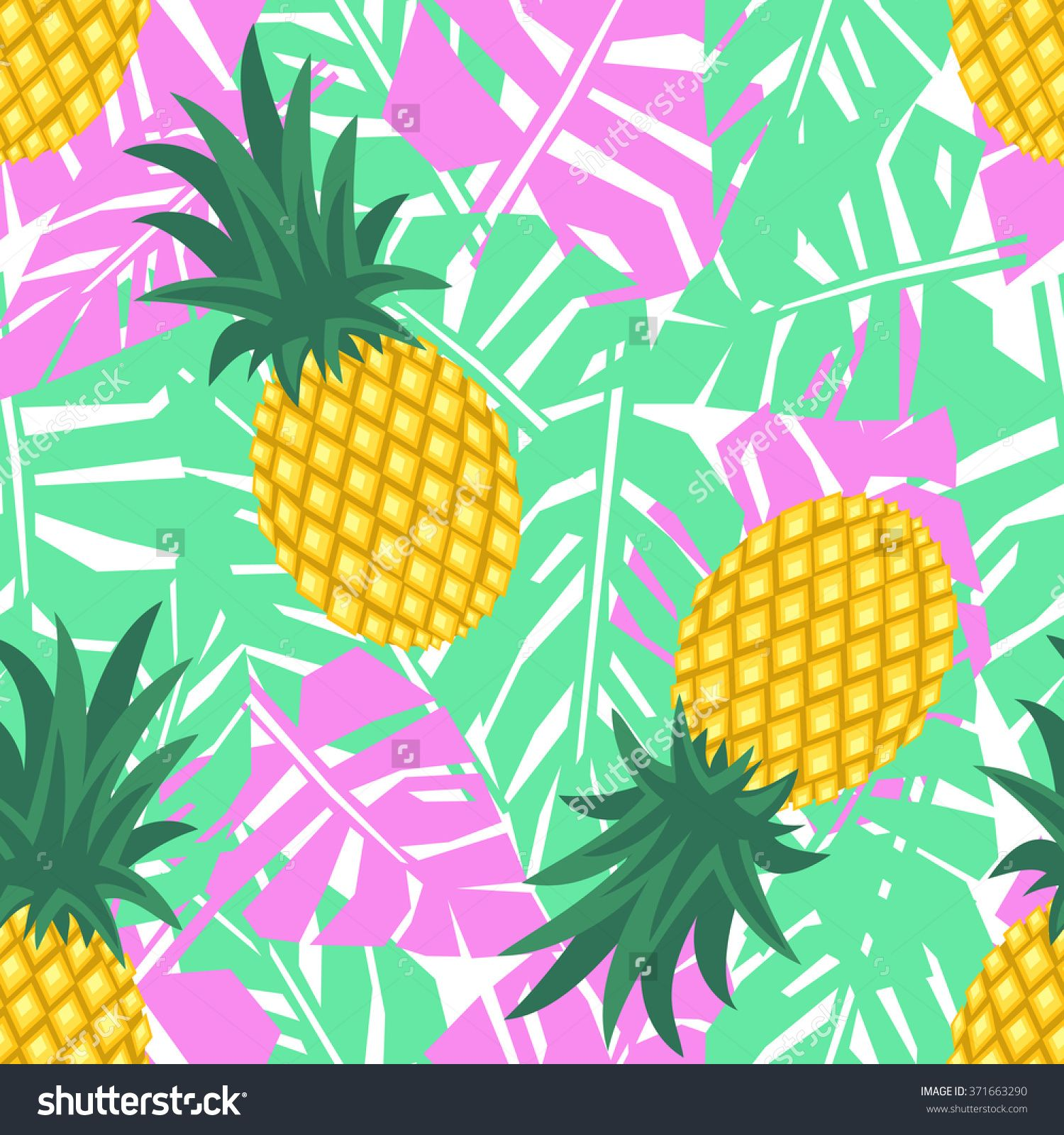 Pineapple With Tropical Leaves Seamless Pattern Cute Vector