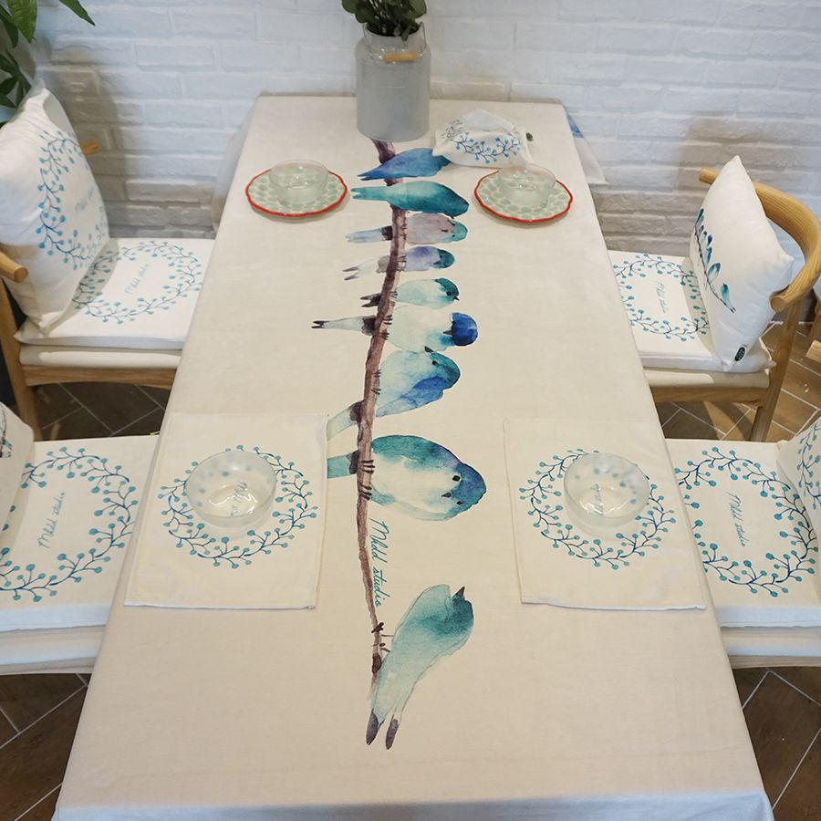 Bird Thick Hotproof 100 Polyester Tablecloth For Home Table Cloth